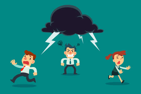 Business team running away from angry colleague with thunder cloud above his head. Business concept. Illustration