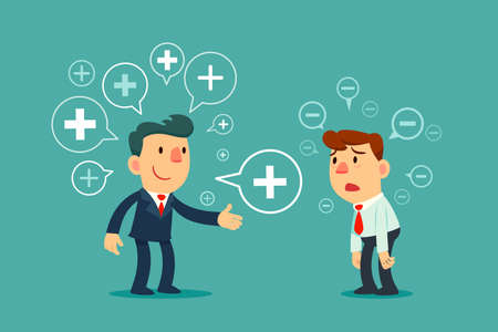 Successful business manager sharing positive thinking symbol to depressed employee. Positive thinking business concept.