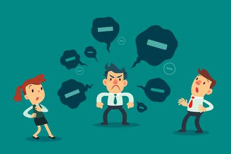 Gestresster Geschäftsmann verbreitete negative Gedanken an seinen Kollegen. Geschäftskonzept für giftige Menschen.