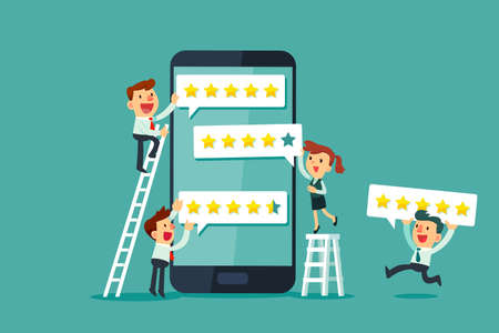 Happy business people leaving five star rating on smartphone screen. Customer review business concept. Çizim