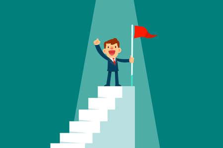 Homme d'affaires prospère tenant un drapeau rouge au sommet de l'escalier. Concept d'entreprise réussi. Vecteurs