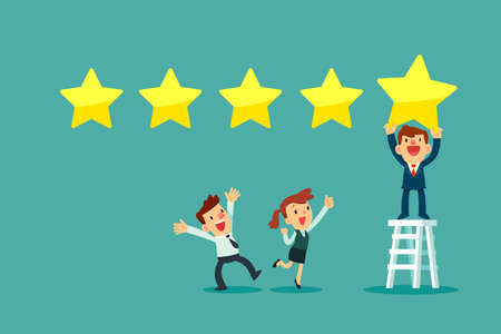Happy businessman on ladder put fifth gold star in line showing five stars rating. Customer review business concept.