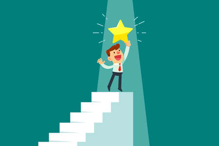 Happy businessman holding gold star on top of staircase. Successful business concept. Çizim