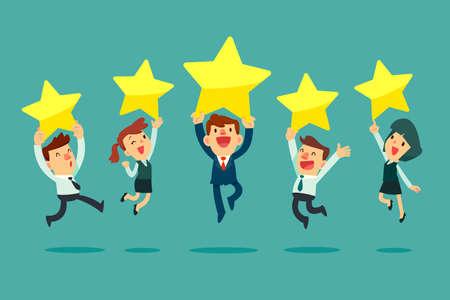 Gelukkige zakenmensen springen en houden gouden recensiesterren vast. Beoordeling bedrijfsconcept. Vector Illustratie