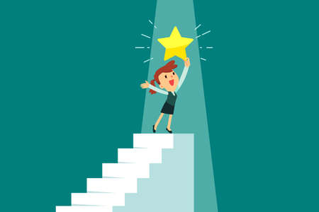 Happy businesswoman holding gold star on top of staircase. Ambition and success business concept.