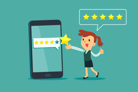 Happy businesswoman give five star rating on smartphone screen. Customer review business concept.