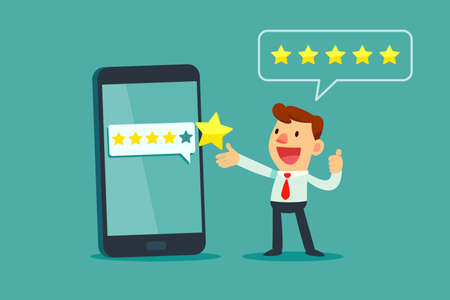 Happy businessman give five star rating on smartphone screen. Customer review business concept.