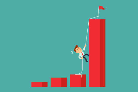 Determined businessman climbing rope to the top of highest bar graph. Ambition and determination business concept.