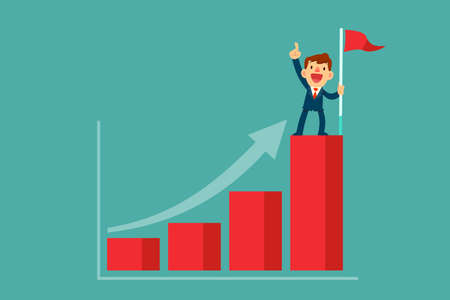 Successful businessman holding flag on top of highest bar graph. Successful self improvement business concept.