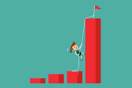 Determined businesswoman climbing rope to the top of highest bar graph. Ambition and determination business concept. Çizim