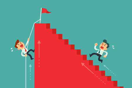 Two businessmen climbing stairs different way. Business competition concept.