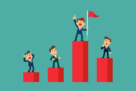 Erfolgreicher Geschäftsmann, der auf einem höheren Balkendiagramm steht als seine Konkurrenten. Business-Wettbewerbskonzept.