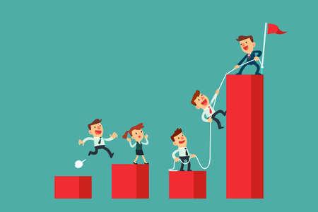 Erfolgreicher Unternehmensleiter hilft seinem Team, das höchste Balkendiagramm zu erklimmen. Business-Teamwork-Konzept. Vektorgrafik