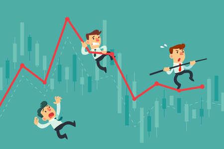 Geschäftsleute balancieren sich auf einem groben Liniendiagramm aus. Geschäftskonzept für Risikoinvestitionen.