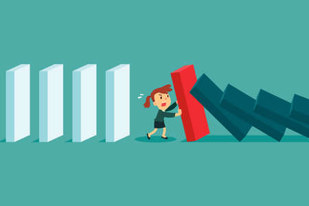 Businesswoman stopping falling domino effect. Crisis management business concept.
