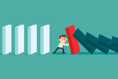 Businessman stopping falling domino effect. Crisis management business concept. Çizim