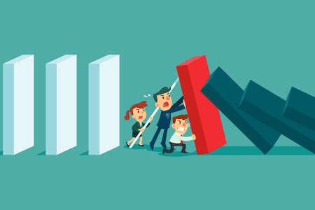 Das Geschäftsteam stoppt erfolgreich den fallenden Dominoeffekt. Krisen- und Teamwork-Geschäftskonzept. Vektorgrafik