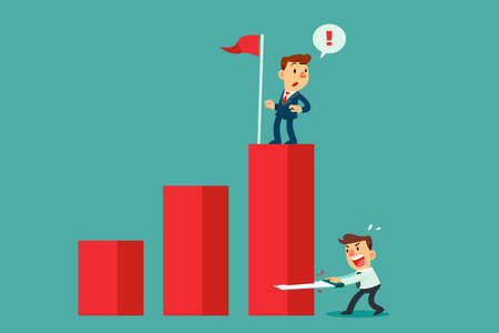 Businessman cutting down bar graph with another businessman on top. Business competition concept. Ilustración de vector
