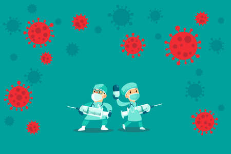 Doctors wearing medical mask and protection suit with syringe surrounded by virus cells. COVID-19 pandemic medical staff.