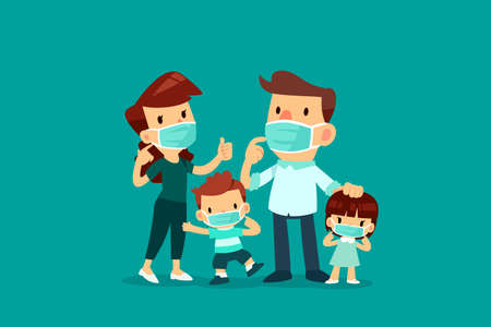 Family wearing medical mask for protection during Coronavirus pandemic.