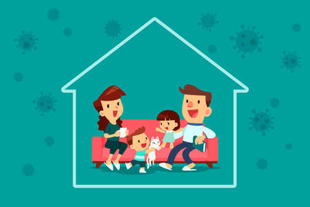 Family stay inside their home during Coronavirus pandemic. Self-isolation concept.