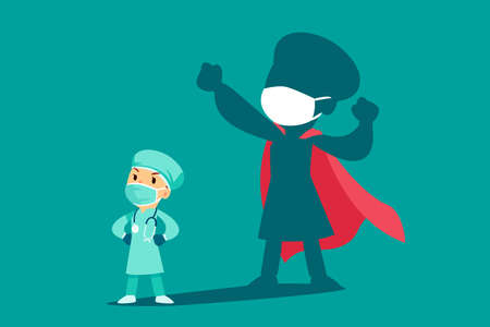 Female doctor or nurse wearing medical mask with shadow as superhero. Medical staff during Coronavirus pandemic. Çizim