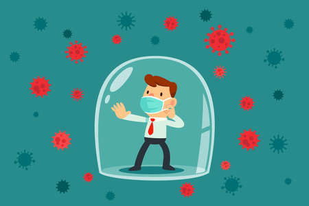 Businessman wearing medical mask inside glass dome surrounded by virus cells. Coronavirus pandemic concept. Çizim