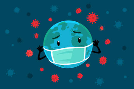 Cartoon illustration planet earth wearing medical mask surrounded by virus cells. Coronavirus pandemic concept. Foto de archivo - 146950089
