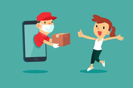 Delivery man with medical mask come out from smart phone to delivery package to a woman at home. Delivery service concept.