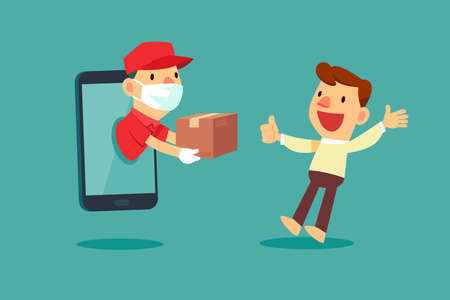 Delivery man with medical mask come out from smart phone to delivery package to a man at home. Delivery service concept.