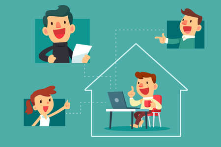 Happy man working at home video calling with his colleague. Social distancing, work from home business concept.