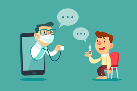 Male patient consult with doctor on smart phone screen. Online medical consultation concept.