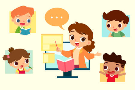 Online education concept. Teacher and students on video conference. Çizim