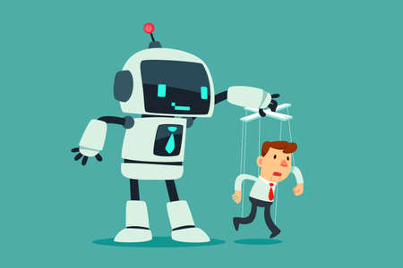 Robot controlling puppet businessman hanging on strings. Artificial intelligence technology business concept.