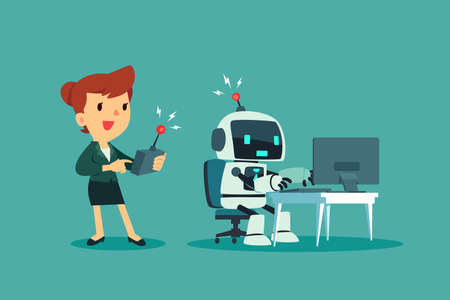 Businesswoman controlling a robot at office desk with remote control. Artificial intelligence technology business concept.