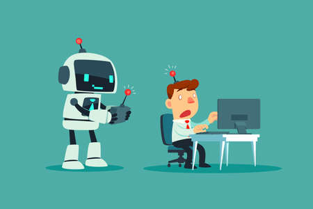 Robot use remote control with a businessman at office desk. Artificial intelligence technology business concept. Çizim