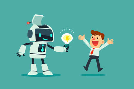 Robot wit artificial intelligence give idea bulb to businessman. Artificial intelligence business concept.