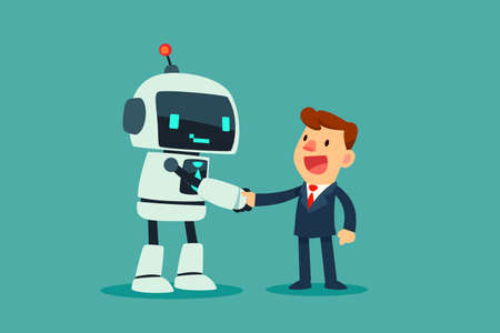 Successful businessman shaking hand with a robot with artificial intelligence. Artificial intelligence business concept.