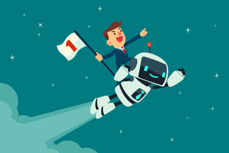 Successful businessman holding number one flag standing on top of flying robot. Artificial intelligence business concept.