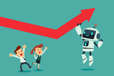 Robot with artificial intelligence pushing arrow graph up. Artificial intelligence business concept.
