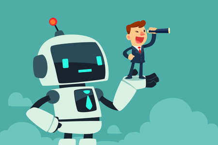 Successful businessman with spyglass standing in a hand of giant robot with artificial intelligence. Artificial intelligence business concept.
