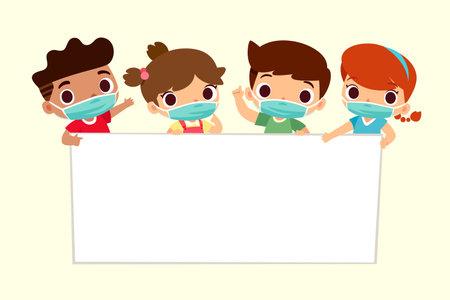 Cute kids wearing face mask holding blank sign. Coronavirus protection concept. Çizim