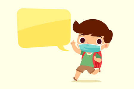 A boy with backpack wearing face mask talking with speech bubble. Coronavirus protection concept.