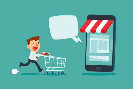 Businessman with shopping cart rush to shop at online store with dialogue bubble. Online shopping marketing business concept.