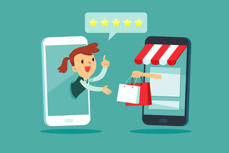 Businesswoman on smartphone screen give five star rating to online shopping store. Online shopping business concept.