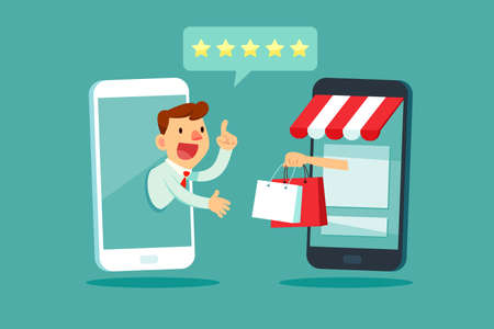 Businessman on smartphone screen give five star rating to online shopping store. Online shopping business concept. Çizim