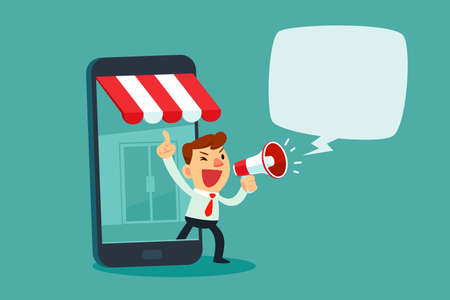 Businessman in smartphone screen with online store talking in megaphone. Online shopping advertisement business concept.