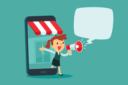 Businesswoman in smartphone screen with online store talking in megaphone. Online shopping advertisement business concept.