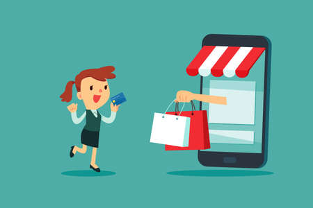 Businesswoman use credit card for online shopping store. Online shopping business concept. Çizim