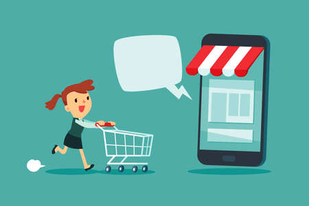 Businesswoman with shopping cart rush to shop at online store with dialogue bubble. Online shopping marketing business concept. Çizim